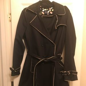 Women's GAP Black Double Breasted Trench Coat